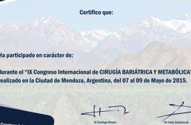 Cerfificado de participación en IX Congreso de Cirugía Bariátrica y Metabólica, Mendoza, Argentina
